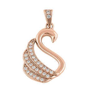 Sterling Silver Rose Gold Plated Swan Clear CZ Pendant