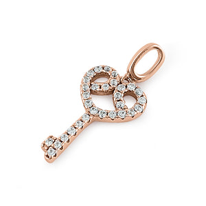 Sterling Silver Rose Gold Plated Elegant Heart Key Clear CZ Pendant