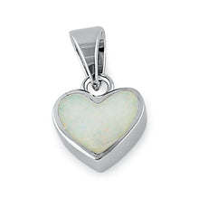 Load image into Gallery viewer, Sterling Silver Small Heart White Lab Opal Pendant