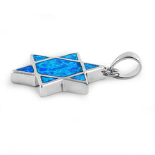 Load image into Gallery viewer, Sterling Silver Blue Lab Opal Star of David Pendant
