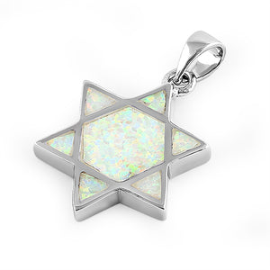 Sterling Silver White Lab Opal Star of David Pendant