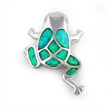 Load image into Gallery viewer, Sterling Silver Green Lab Opal Frog Pendant