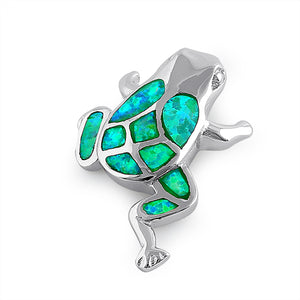 Sterling Silver Green Lab Opal Frog Pendant