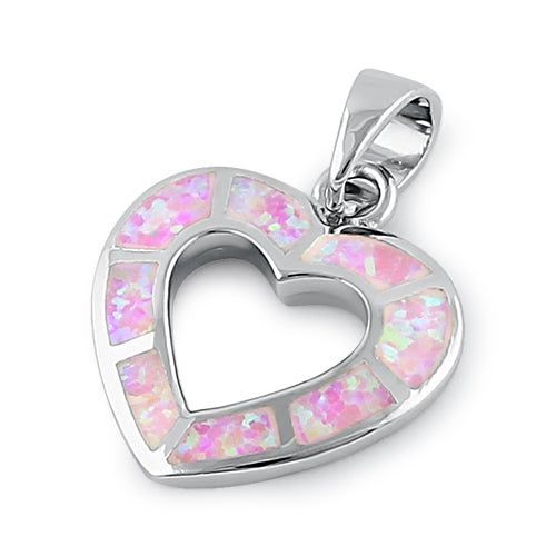 Sterling Silver Pink Lab Opal Hollow Heart Pendant