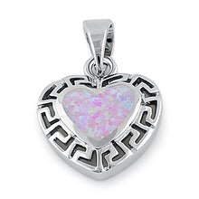 Load image into Gallery viewer, Sterling Silver Heart Greek Pattern Pink Lab Opal Pendant