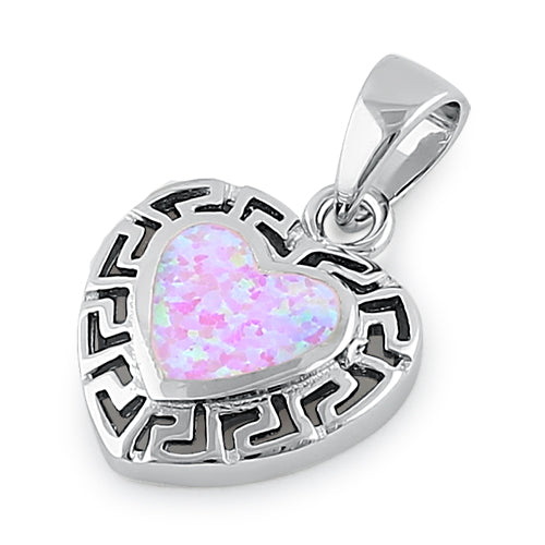 Sterling Silver Heart Greek Pattern Pink Lab Opal Pendant