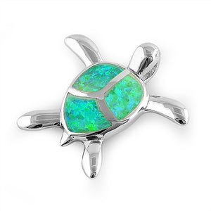 Sterling Silver Green Lab Opal Turtle Pendant