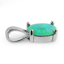 Load image into Gallery viewer, Sterling Silver Green Lab Opal Oval Pendant