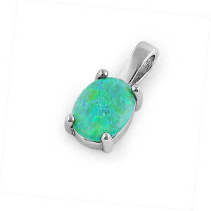 Sterling Silver Green Lab Opal Oval Pendant