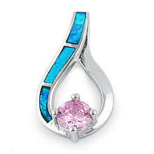 Load image into Gallery viewer, Sterling Silver Twist Blue Lab Opal & Pink Round Cut CZ Pendant