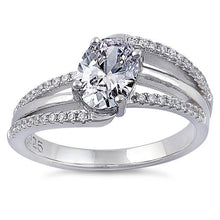 Load image into Gallery viewer, Sterling Silver Tilted Oval Clear CZ Ring