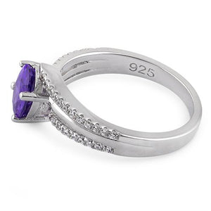 Sterling Silver Tilted Oval Amethyst CZ Ring