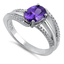 Load image into Gallery viewer, Sterling Silver Tilted Oval Amethyst CZ Ring
