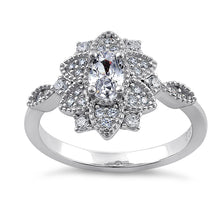 Load image into Gallery viewer, Sterling Silver Ornate Flower Oval & Round CZ Ring