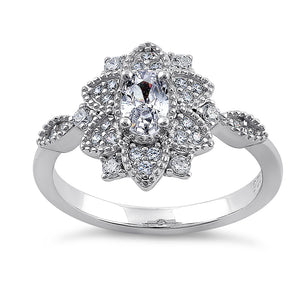 Sterling Silver Ornate Flower Oval & Round CZ Ring