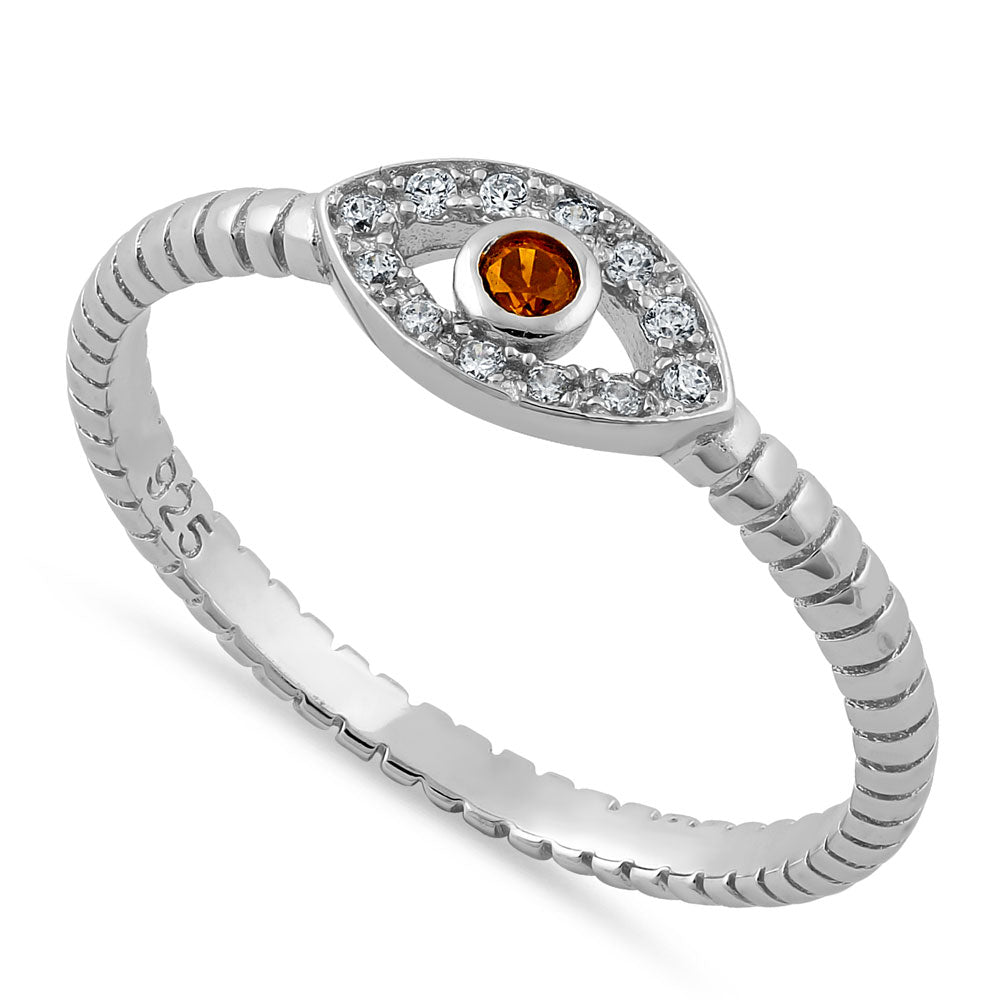 Sterling Silver Red Orange Stone Evil Eye CZ Ring