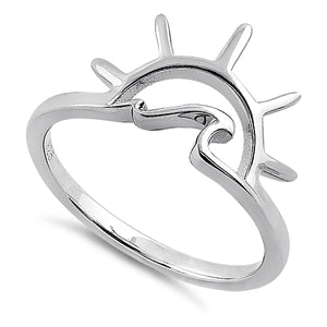 Sterling Silver Sun & Wave Ring
