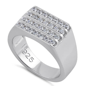 Sterling Silver 4 Row Clear CZ Wedding Band
