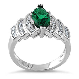 Sterling Silver Marquise Cut Emerald CZ Ring