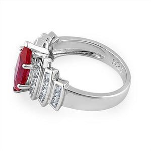 Sterling Silver Marquise Cut Ruby CZ Ring