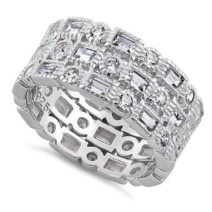 Sterling Silver Round & Baguette Straight Cut Clear CZ Ring