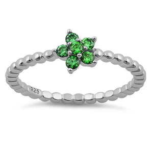 Sterling Silver Beaded Emerald Plumeria Flower CZ Ring