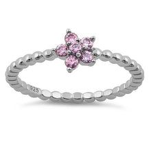 Load image into Gallery viewer, Sterling Silver Beaded Pink Plumeria Flower CZ Ring