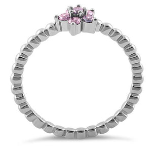 Sterling Silver Beaded Pink Plumeria Flower CZ Ring
