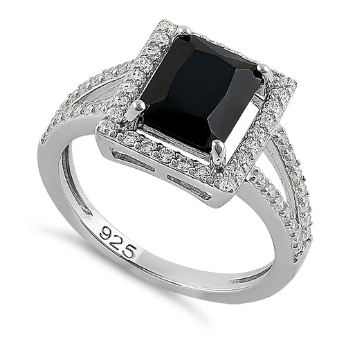 Sterling Silver Black Emerald Cut CZ Ring