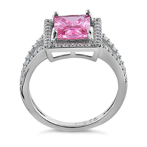 Sterling Silver Pink Emerald Cut CZ Ring