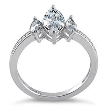 Load image into Gallery viewer, Sterling Silver Triple Marquise Cut Clear CZ Ring