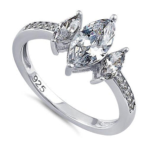 Sterling Silver Triple Marquise Cut Clear CZ Ring