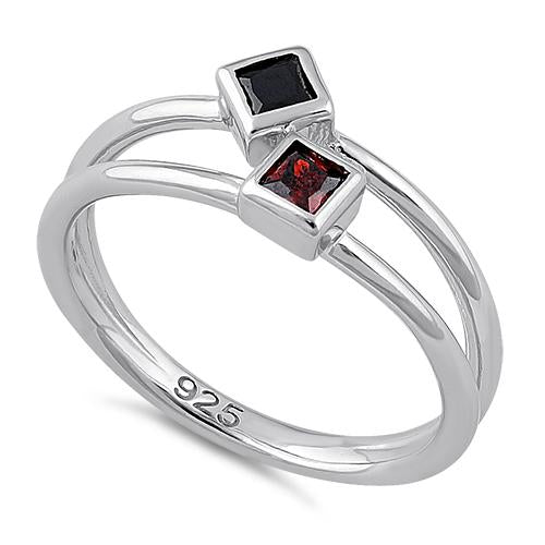 Sterling Silver Double Princess Cut Black & Garnet CZ Ring