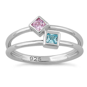 Sterling Silver Double Princess Cut Pink CZ Ring