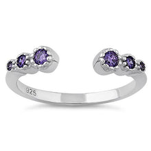 Load image into Gallery viewer, Sterling Silver Six Round Cut Amethyst CZ Ring