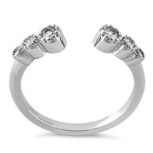 Load image into Gallery viewer, Sterling Silver Six Round Cut Clear CZ Ring