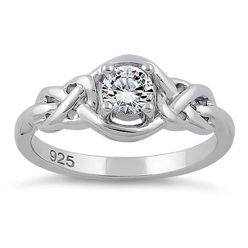 Sterling Silver Knot Frame Round Cut Clear CZ Ring