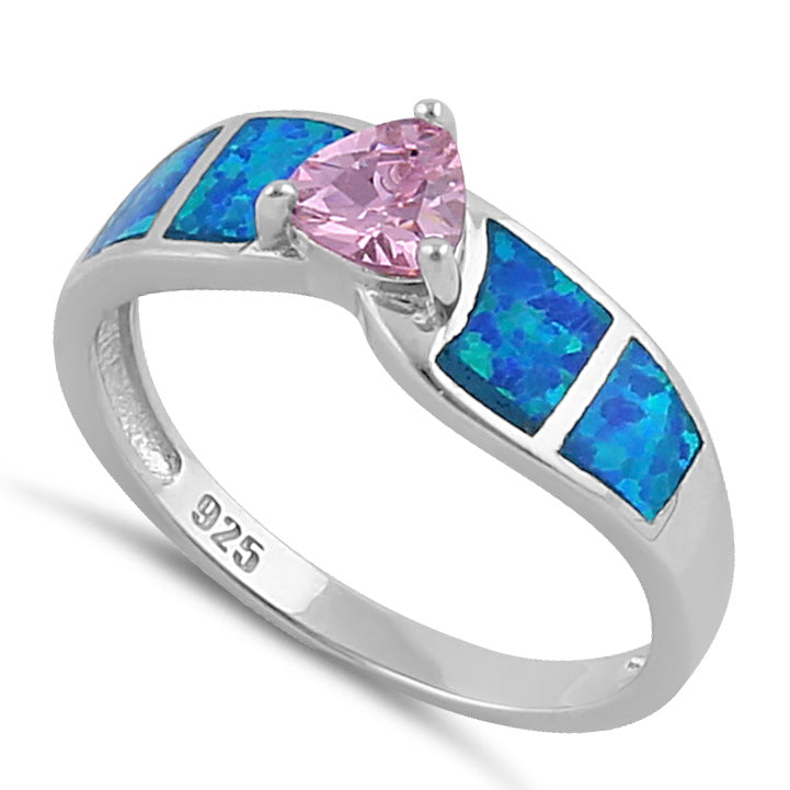 Sterling Silver Pink Center Trillion Cut Stone Blue Lab Opal Ring