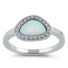 Load image into Gallery viewer, Sterling Silver Offset White Lab Opal and Clear CZ Ring