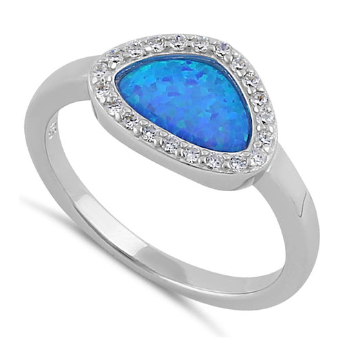 Sterling Silver Small Tri-Oval Blue Lab Opal CZ Ring