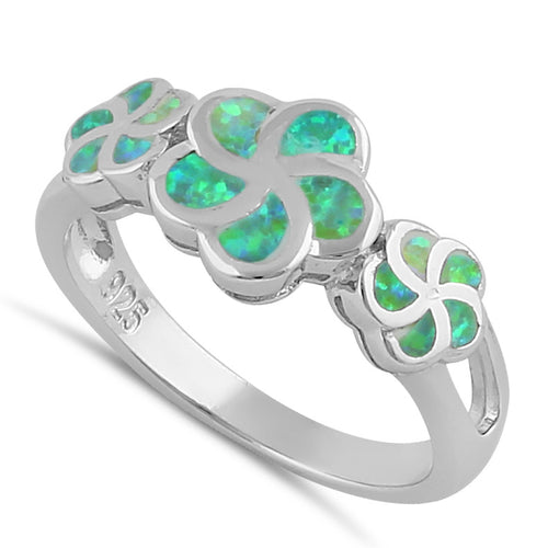 Sterling Silver Green Lab Opal Plumeria Ring