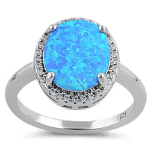 Load image into Gallery viewer, Sterling Silver Blue Lab Opal Oval Halo Clear CZ Ring