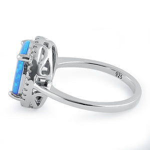 Sterling Silver Blue Lab Opal Oval Halo Clear CZ Ring