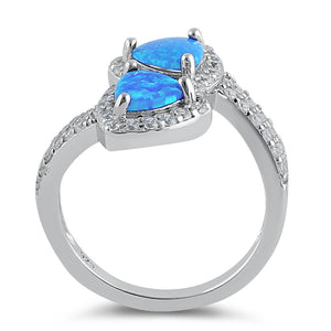 Sterling Silver Blue Lab Opal Double Trillion Clear CZ Ring