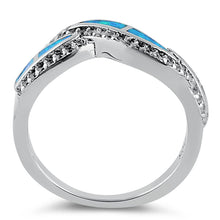 Load image into Gallery viewer, Sterling Silver Elegant Blue Lab Opal Curve Clear CZ Ring