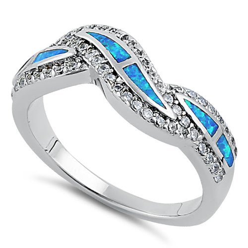 Sterling Silver Elegant Blue Lab Opal Curve Clear CZ Ring