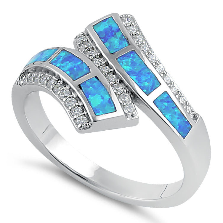 Sterling Silver Blue Lab Opal Open Ended Clear CZ Ring