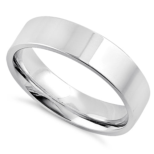 Sterling Silver 5MM Flat Wedding Band