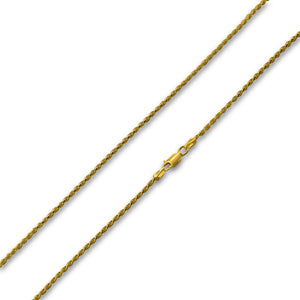 14K Gold Plated Sterling Silver Rope Chain 2MM