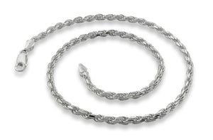 "Sterling Silver 24"" Rope Chain Necklace 4.5MM"
